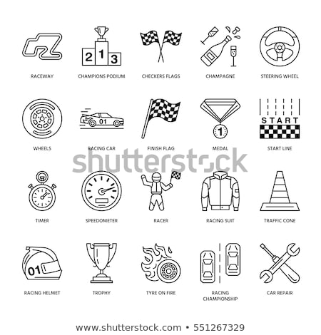 car racing vector line icons speed auto championship signs   track automobile racer helmet chec stock photo © nadiinko