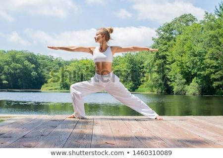 jeune · femme · yoga · rivière · fille · sport - photo stock © master1305