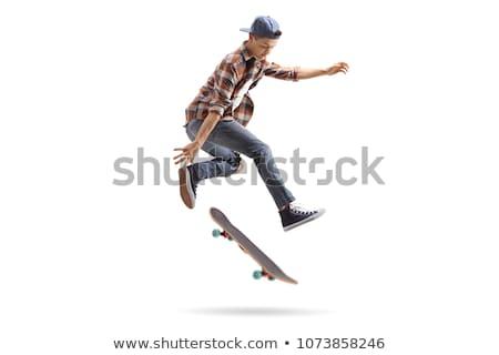 Skateboard blanche amusement exercice skate jeunes Photo stock © master1305