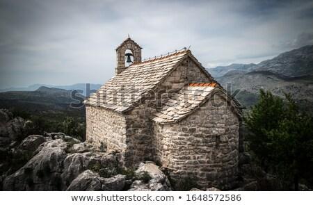 ortaçağ · kilise · köy · gökyüzü · su · deniz - stok fotoğraf © kotenko