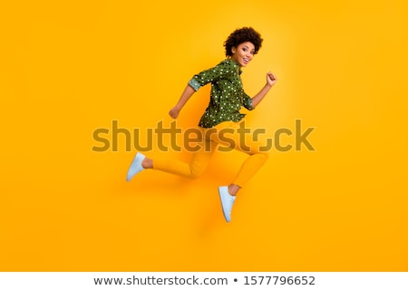 Fille vert chaussures amusement portrait Photo stock © IS2