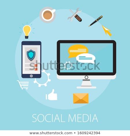 Comunidade rede social ícone modelo de design crianças Foto stock © Ggs
