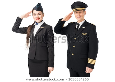 Jonge kaukasisch piloot vliegtuig uniform ernstig Stockfoto © RAStudio