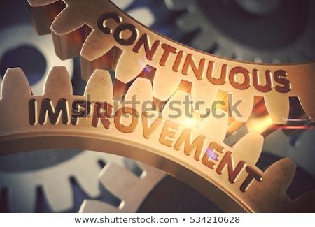 Continuous Improvement on Golden Metallic Cog Gears. Stock photo © tashatuvango