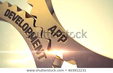 Alkalmazás fejlesztés arany fémes fogaskerék sebességváltó Stock fotó © tashatuvango