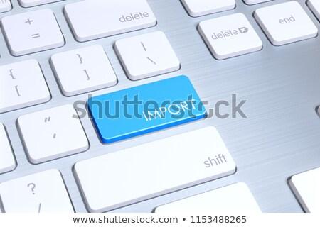 Billentyűzet kék numerikus billentyűzet import fogalmak belépés Stock fotó © tashatuvango