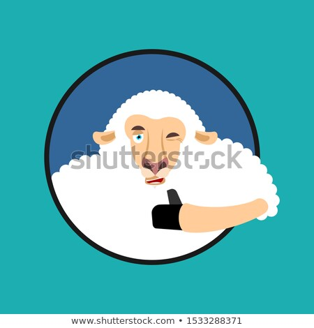 Sheep thumbs up and winks emoji. Ewe happy emoji. Farm animal. V Stock photo © popaukropa