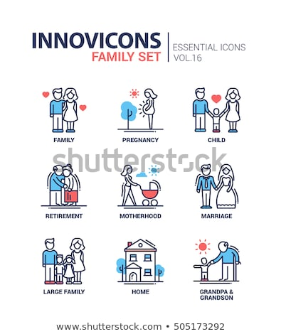 flat icon set baby children family stock photo © ekzarkho