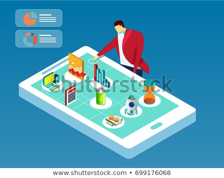 Big Data Analytics on the Yellow Keyboard Button. 3d. Stock photo © tashatuvango