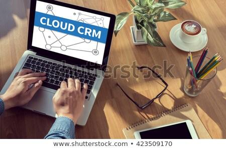 Stock fotó: Felhő · crm · kulcs · fehér · billentyűzet · közelkép