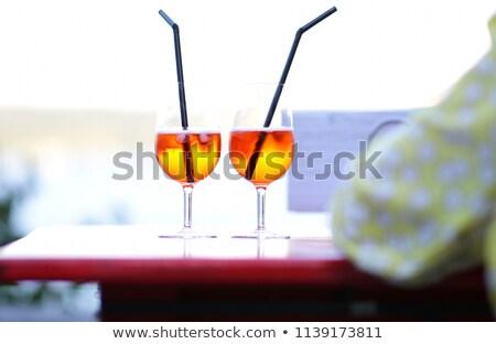 iki · gözlük · pembe · şampanya · çiçekler · parti - stok fotoğraf © alex9500
