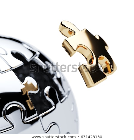 metálico · quebra-cabeça · peça · isolado · branco · 3D - foto stock © iserg