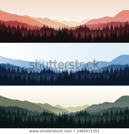 Stock fotó: Különböző · hegyek · fák · illusztráció · fa · természet