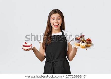 erkek · kadın · şefler · lezzetli · tatlılar · plaka - stok fotoğraf © wavebreak_media