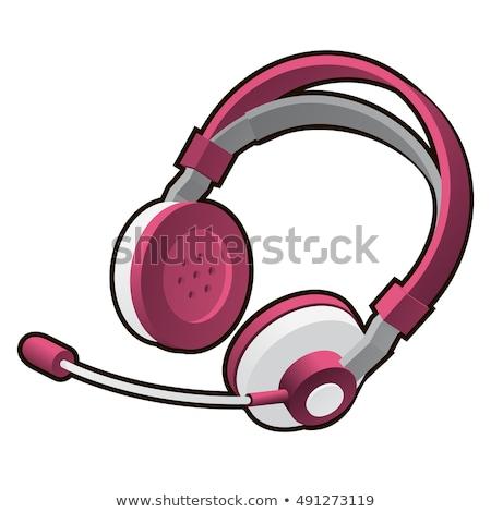 rózsaszín · fejhallgató · mikrofon · izolált · fehér · vektor - stock fotó © Lady-Luck