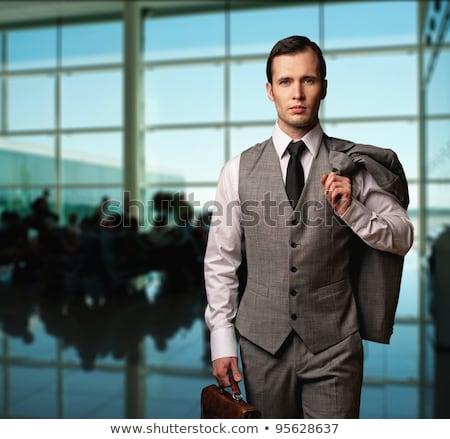 Szary garnitur biznesmen podróży zestaw różny Zdjęcia stock © toyotoyo