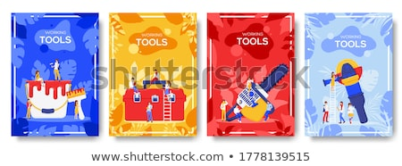 different construction company brochure cards. Working tools template of flyear, magazines, posters, Stock photo © Linetale