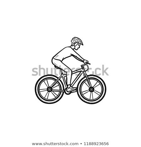 Stok fotoğraf: Biker Riding Mountain Bike Hand Drawn Outline Doodle Icon