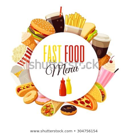fast-food · ayarlamak · toplama · sosisli · sandviç · Burger · kola - stok fotoğraf © jossdiim