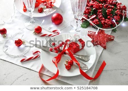 Karácsony asztal tányér ezüst étkészlet fenyőfa ág Stock fotó © karandaev