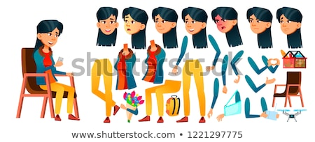 Asian Teen Girl Vector. Teenager. Activity, Beautiful. Face Emotions, Various Gestures. Animation Cr Stock photo © pikepicture