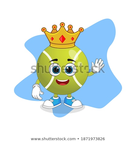 King Tennis Ball Cartoon Character With A Golden Crown Stock photo © hittoon
