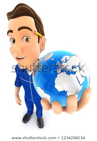 3D · azul · globo · edifício - foto stock © 3dmask