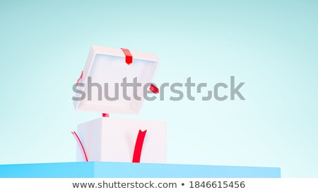 Stock fotó: Piros · ajándék · doboz · kék · szalag · tábla · 3D