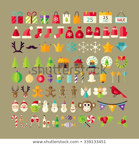 Set of Christmas items flat illustration. Holiday decoration ico stock photo © IvanDubovik