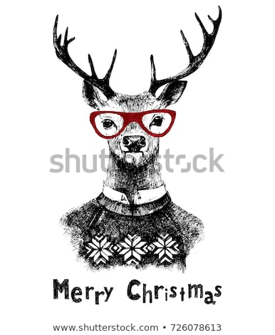 merry christmas card vintage hand drawn deer head with headphones funny doodle greeting overlay wi stock photo © jeksongraphics
