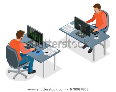 Vektor izometrikus programozós munkahely iroda munkaterület Stock fotó © tele52