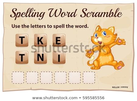 Yazım kelime oyun kedi yavrusu örnek kedi Stok fotoğraf © colematt