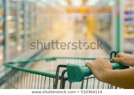 woman with food basket at grocery store freezer Stock photo © dolgachov