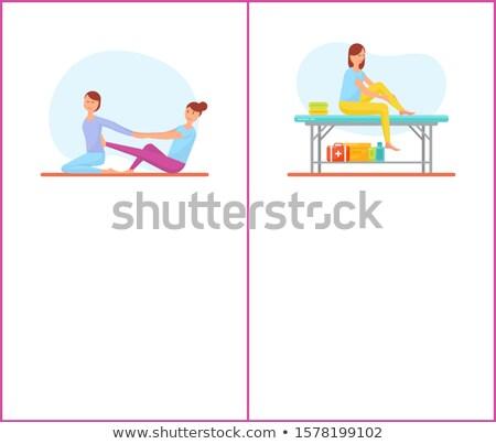 Back and Self Medical Massage Cartoon Posters Set Stock photo © robuart