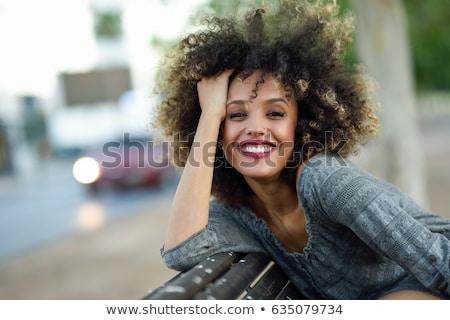 молодые · черную · женщину · улыбаясь · городской · улице · шарф - Сток-фото © Stasia04