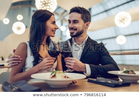 young couple having red wine stock photo © kzenon