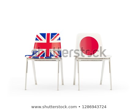 Two chairs with flags of UK and japan isolated on white Stock photo © MikhailMishchenko
