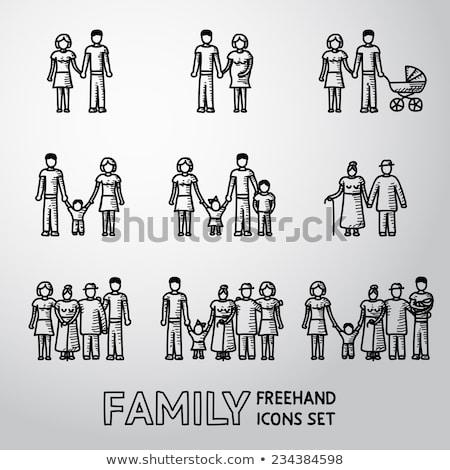 Rodziny szkic ikona gryzmolić Zdjęcia stock © RAStudio