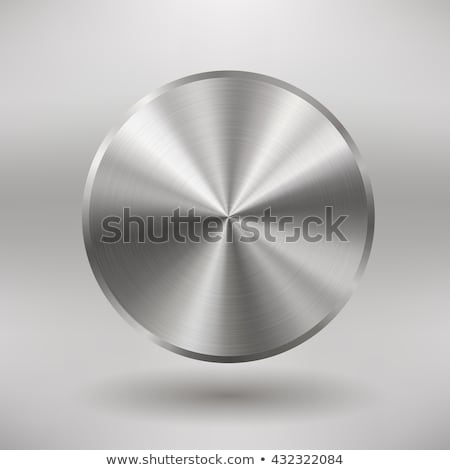 circular realistic metal button with brushed steel surface Stock photo © SArts