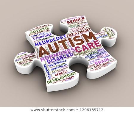 Puzzle darab forma autizmus szófelhő címkék Stock fotó © nasirkhan
