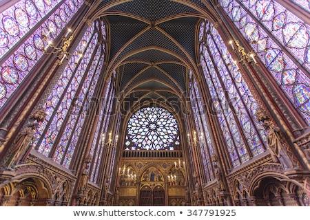 belső · festett · üveg · Notre · Dame-katedrális · Párizs · Franciaország · gótikus - stock fotó © hsfelix