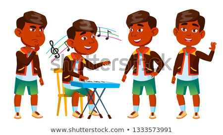 Asian Boy Kindergarten Kid Poses Set Vector. Baby Expression. Preschooler. For Card, Advertisement,  Stock photo © pikepicture
