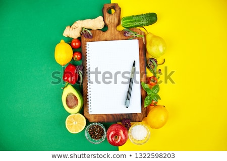 Foto d'archivio: Shopping · elenco · ricetta · libro · dieta · piano