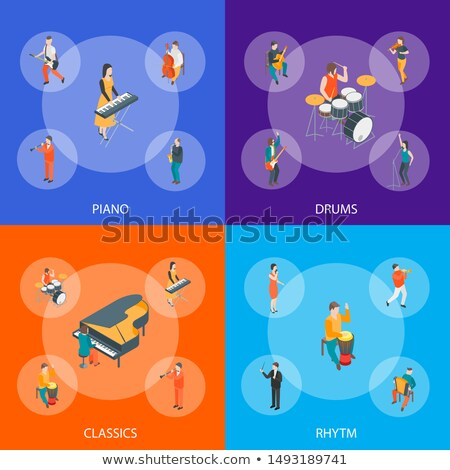 Different types of musical instruments with banner Stock photo © colematt