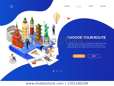 Stock photo: Choose your route - colorful isometric web banner