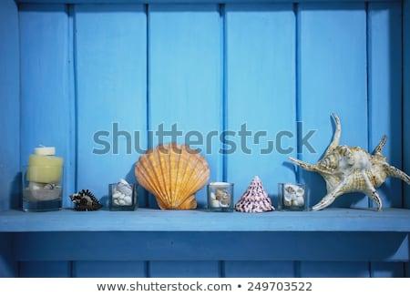 három · fából · készült · kunyhók · tengerpart · illusztráció · tájkép - stock fotó © colematt