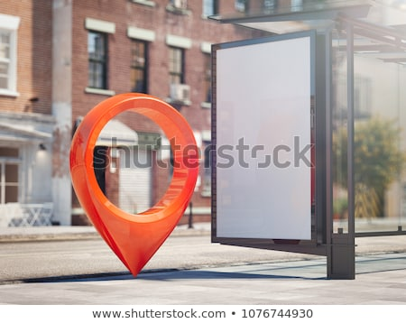3d map pointer line icon, mobile gps navigation and location, ve Stock photo © kyryloff