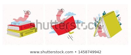 книжный червь червя книгах Caterpillar образование Сток-фото © Krisdog