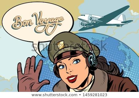 vrouw · piloot · vintage · vliegtuig · pop · art - stockfoto © studiostoks
