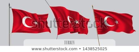 Török zászló integet szél közelkép részlet Stock fotó © boggy